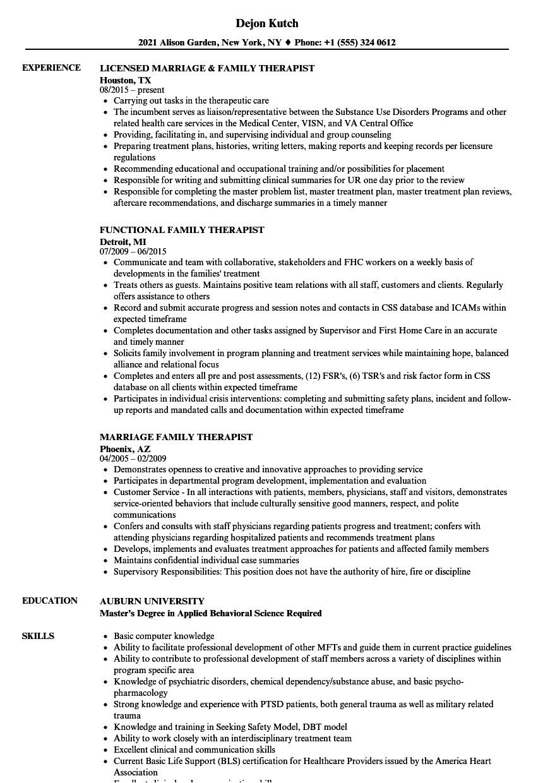family therapist resume sample