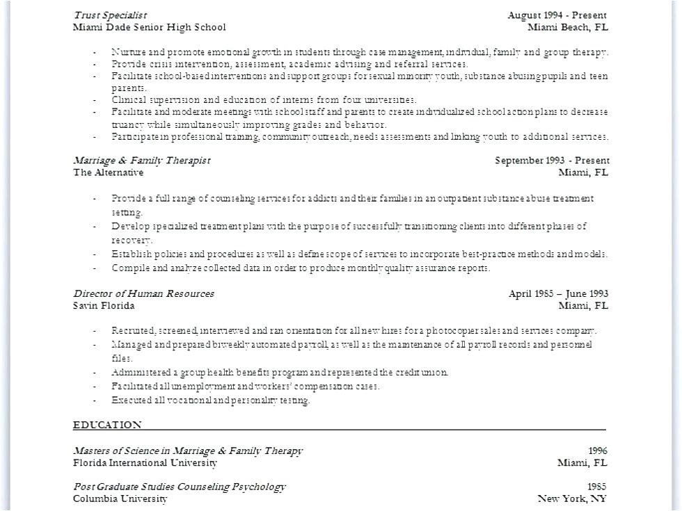 Marriage and Family therapist Resume Sample Fantastic Resume Service Miami Beach Fl Vignette Example