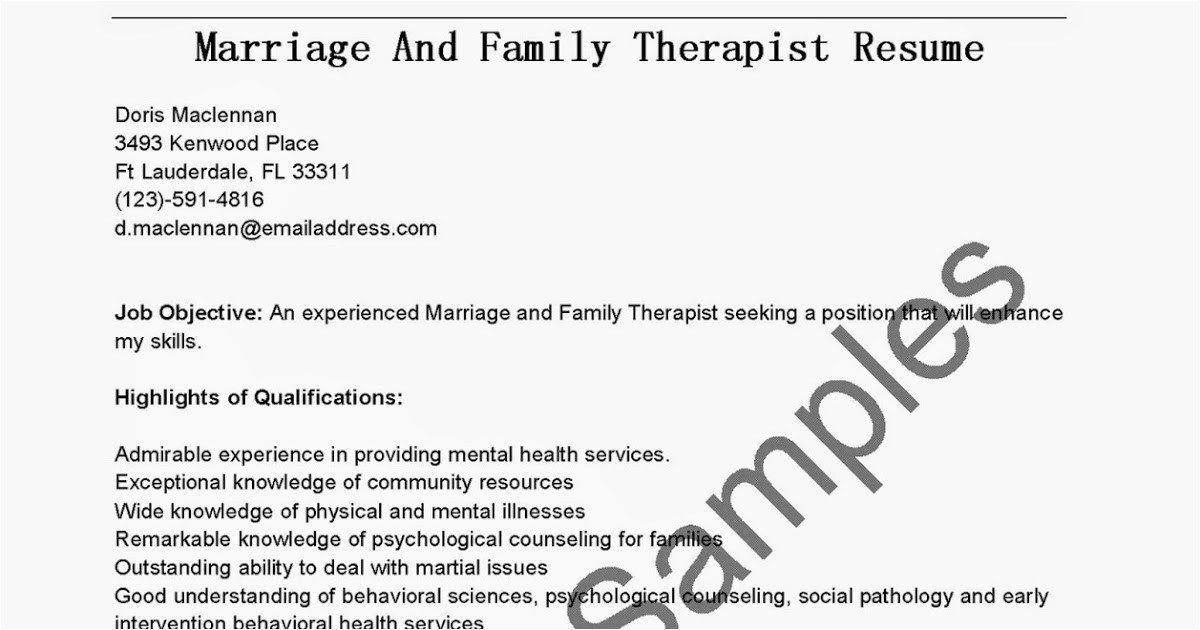 Marriage and Family therapist Resume Sample Resume Samples Marriage and Family therapist Resume