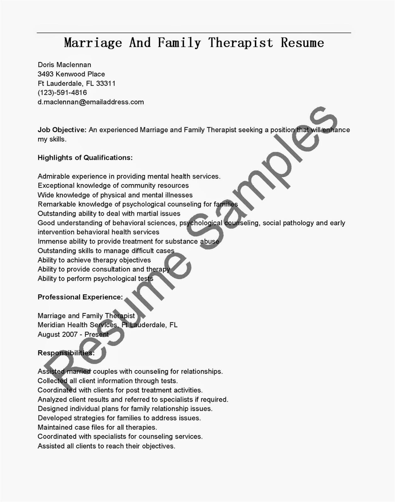 marriage and family therapist resume