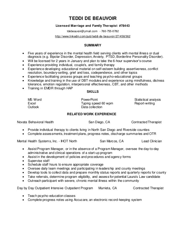 resume teddi de beauvoir ms lmft mfc 78443 53806506