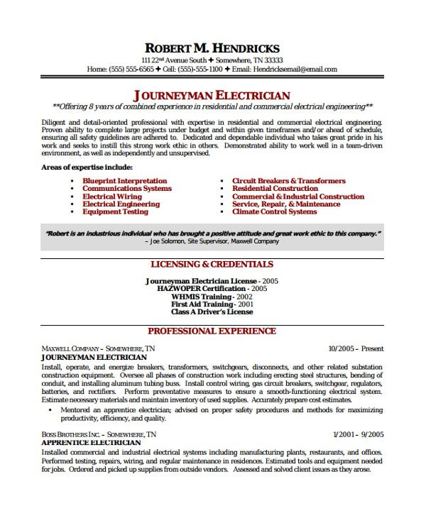 Master Electrician Resume Template 8 Electrician Resume Templates Sample Templates