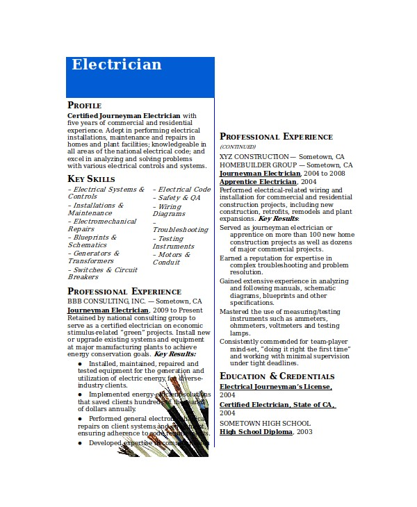 Master Electrician Resume Template Electrician Resume Template 5 Free Word Excel Pdf