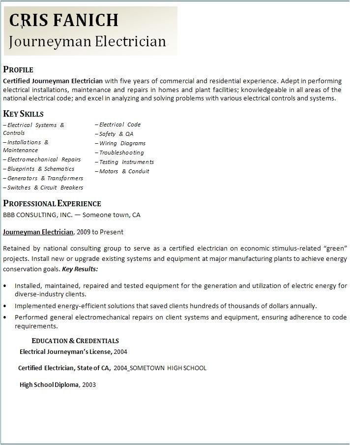Master Electrician Resume Template Journeyman Electrician Resume Template Graphics and