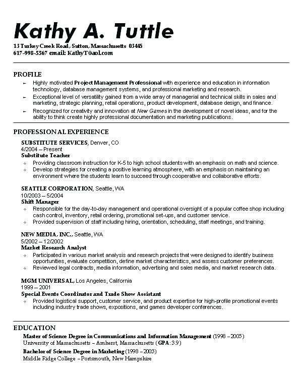 resume examples masters degree