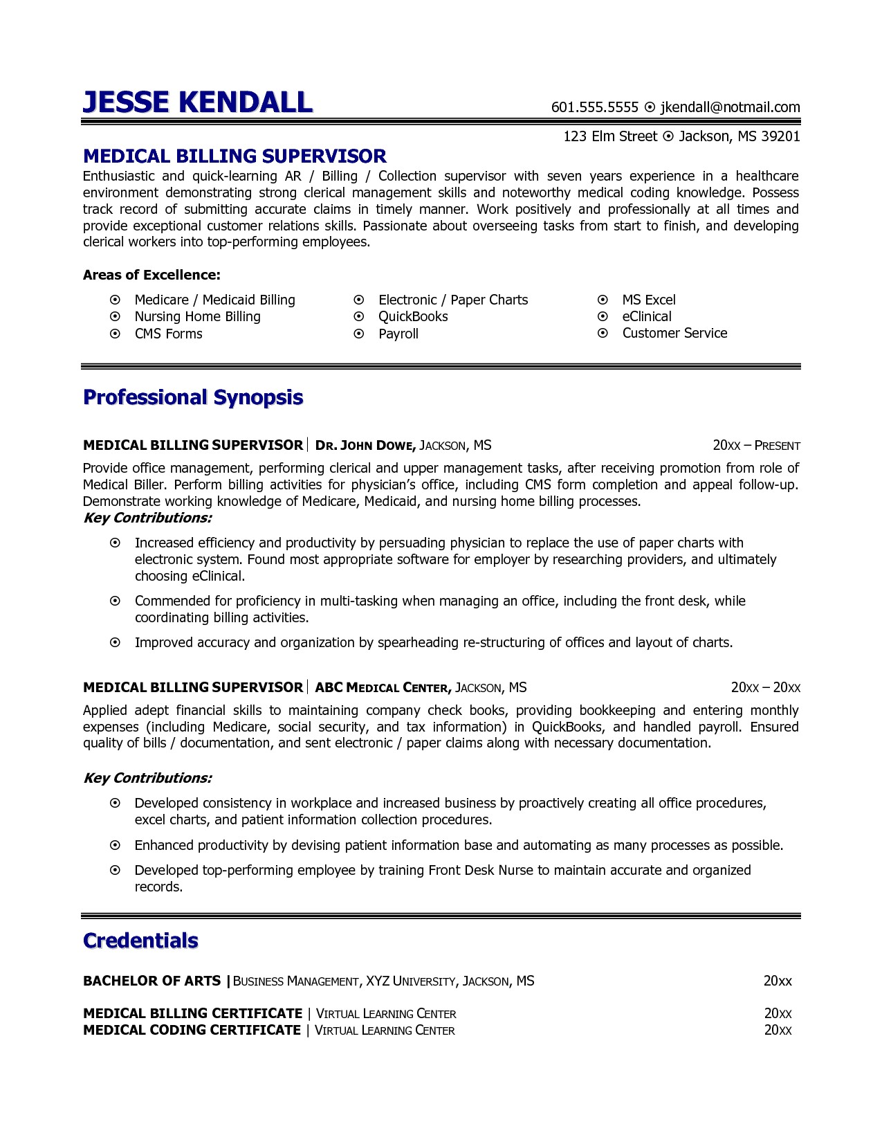 Medical Coder Resume Sample Medical Billing and Coding Resume Example