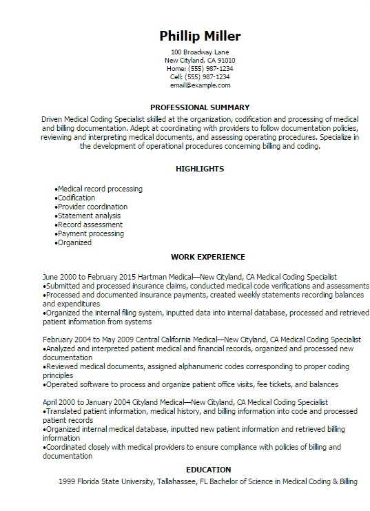 medical coding specialist resume