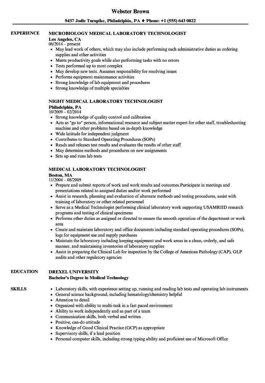 Medical Lab Tech Resume Sample Medical Laboratory Technologist Resume Samples Velvet Jobs