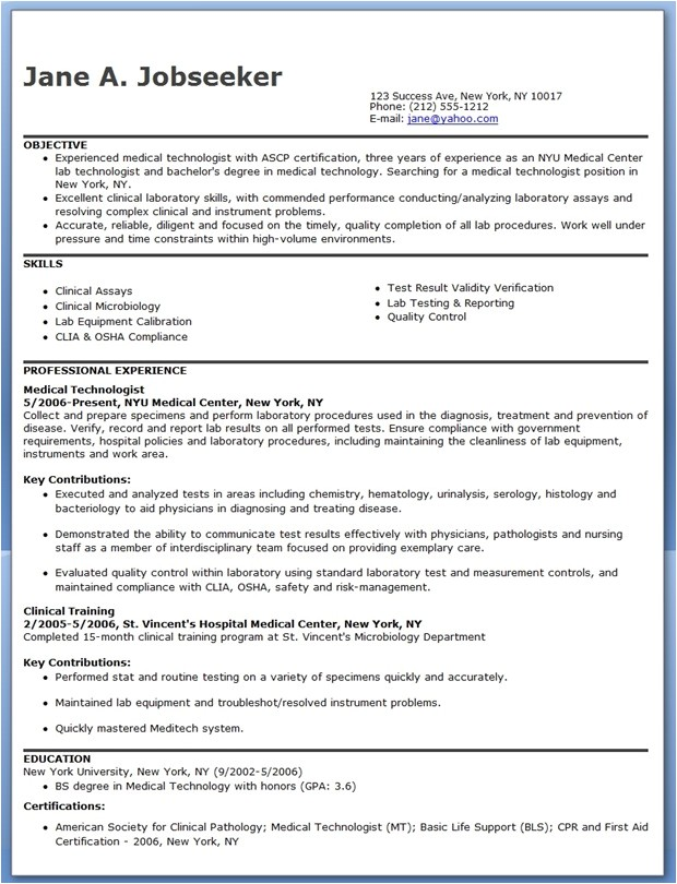 medical technologist resume example