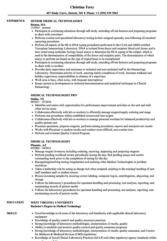 Medical Lab Tech Resume Sample Medical Technologist Resume Samples Velvet Jobs