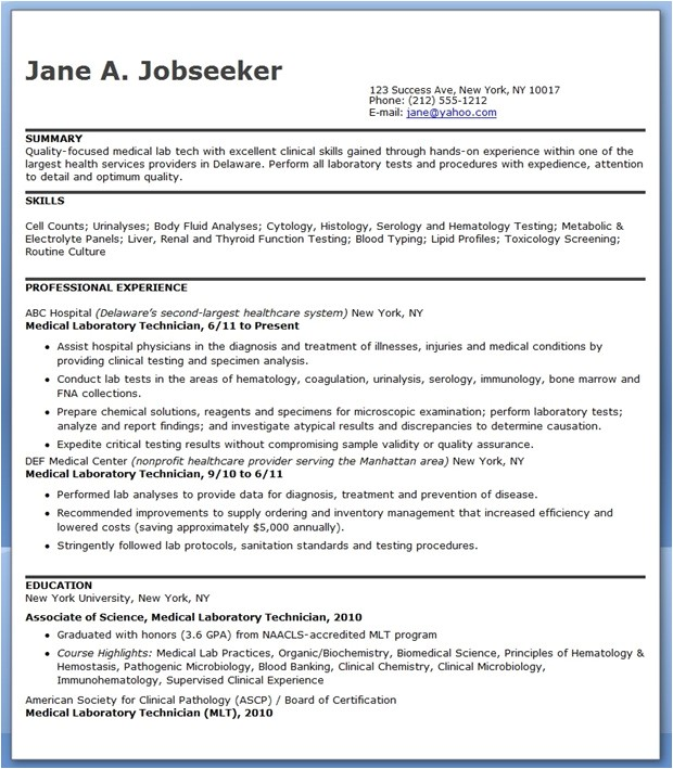 Medical Lab Tech Resume Sample Sample Cv Medical Laboratory Technologist Dental Vantage