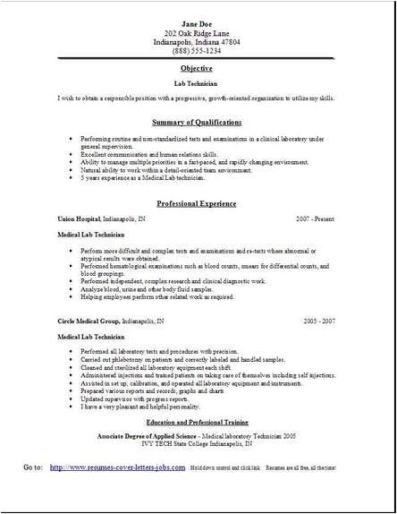 sample resume medical laboratory technician