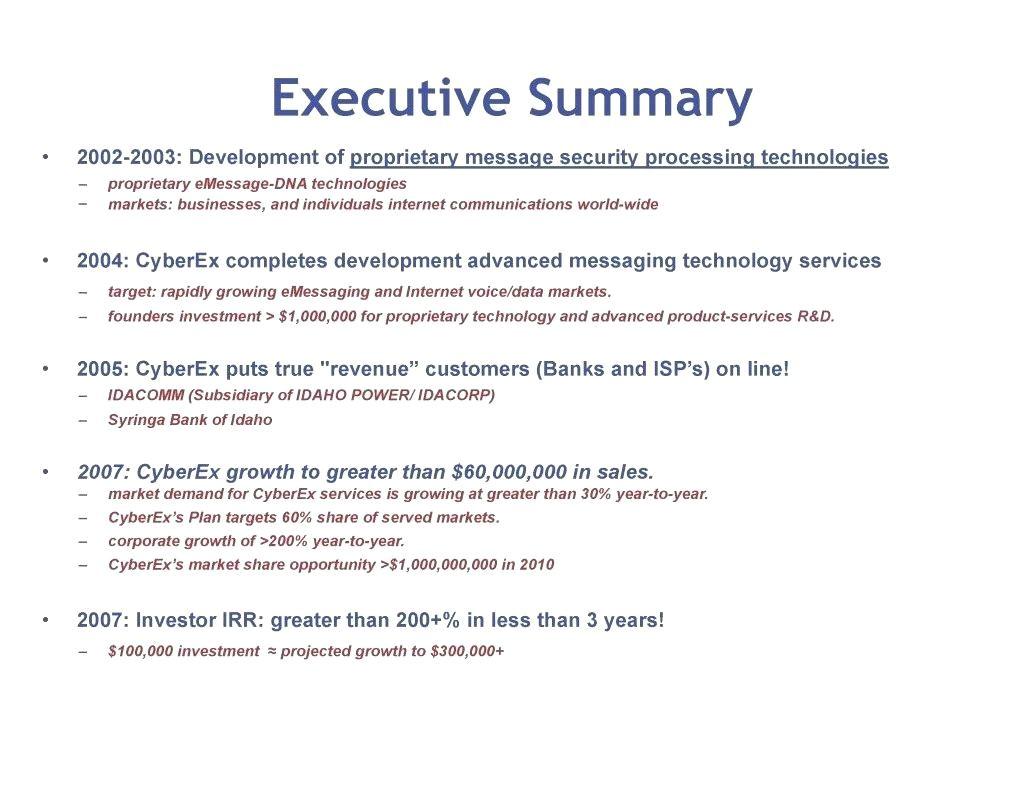investment summary template investor business plan medical marijuana portfolio sample