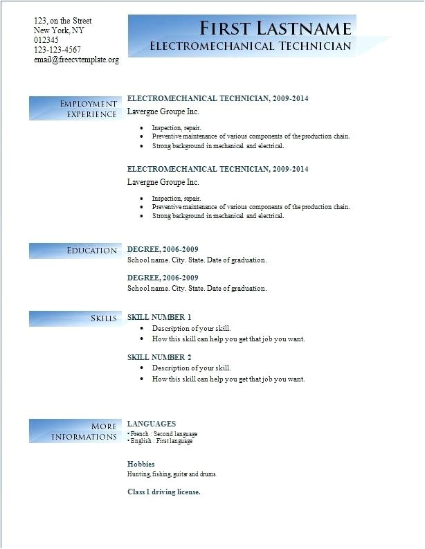 free resume template microsoft word 2018