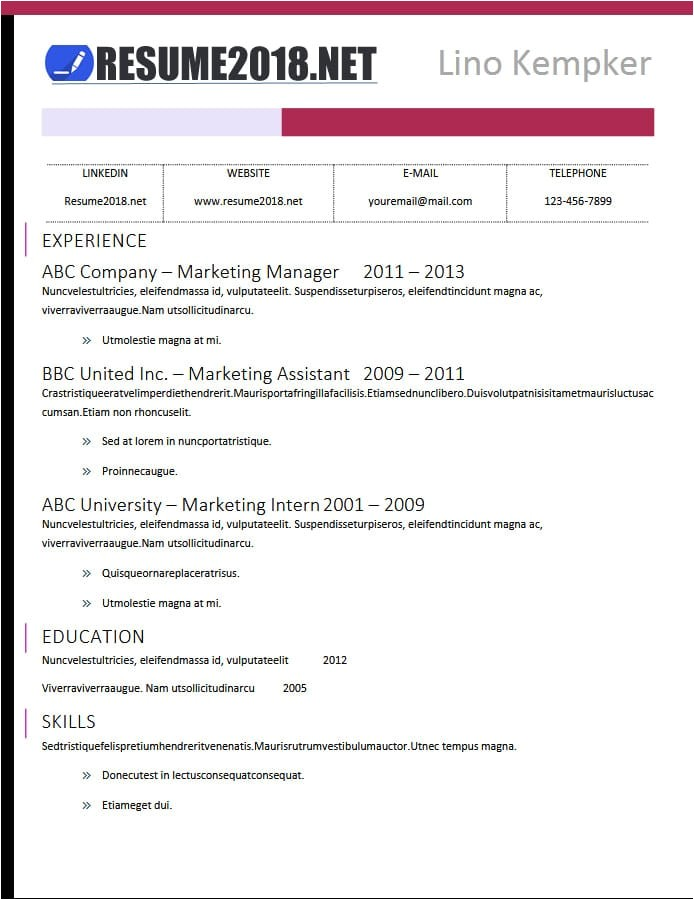 Microsoft Word Resume Templates 2018 Free Latest Resume Templates 2018 100 Resume Examples In Word