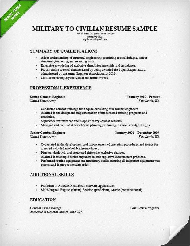 Military Resume Templates How to Write A Military to Civilian Resume Resume Genius