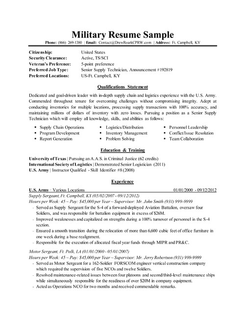 Military Resume Templates Professional Executive Military Resume Samples by Drew