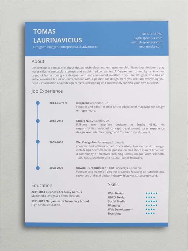 minimal resume word template
