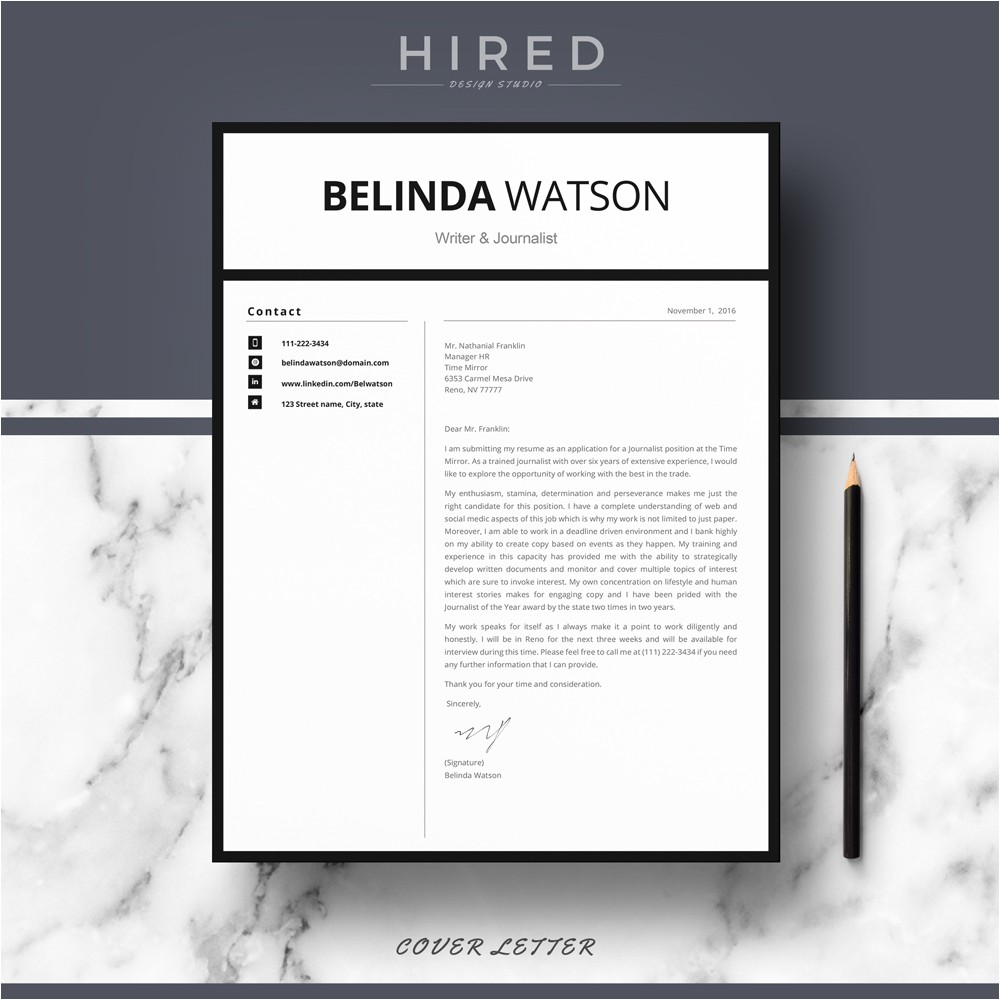 Minimalist Resume Template Word Resume Templates Hired Design Studio