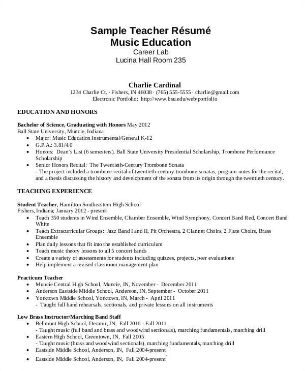 Musician Resume Samples Free Teacher Resume 40 Free Word Pdf Documents