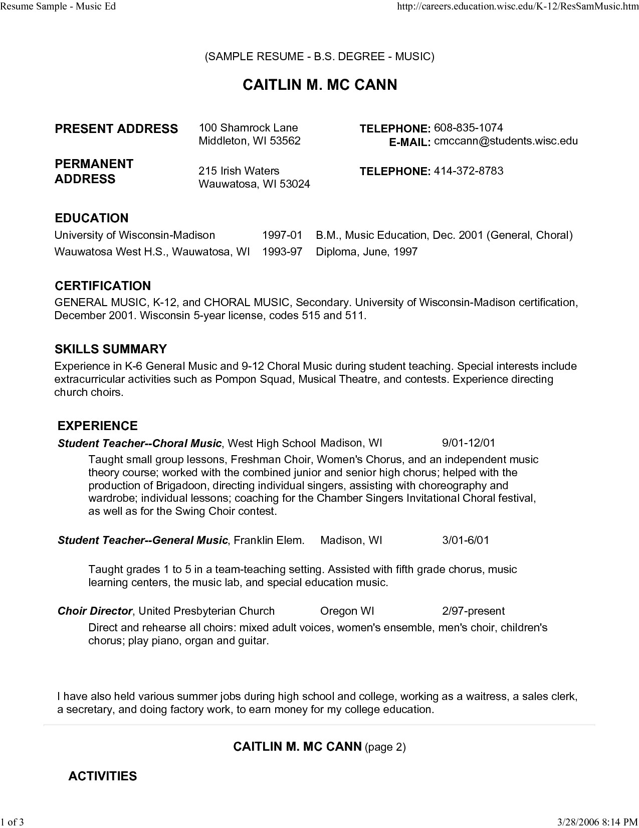 music resume for college application