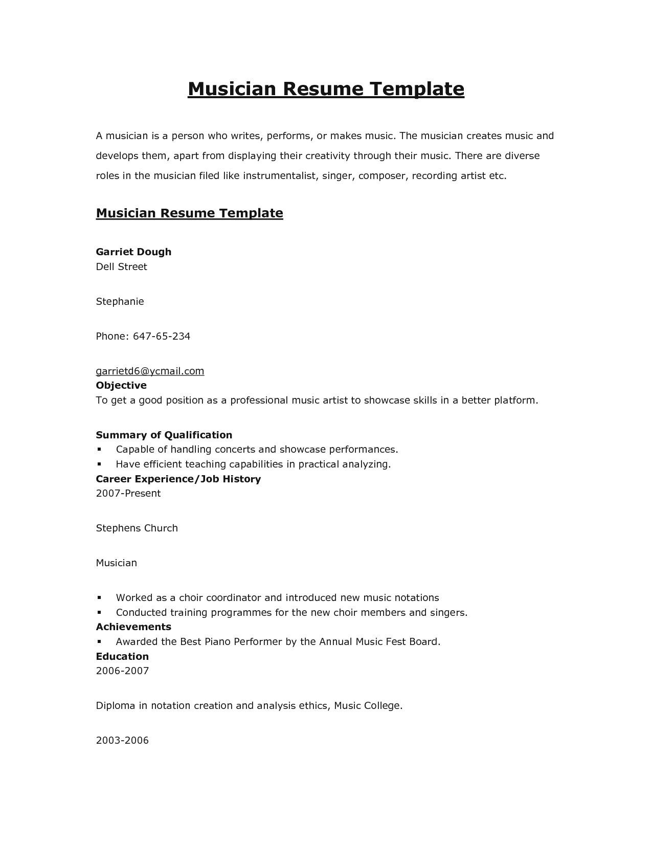 music resume template