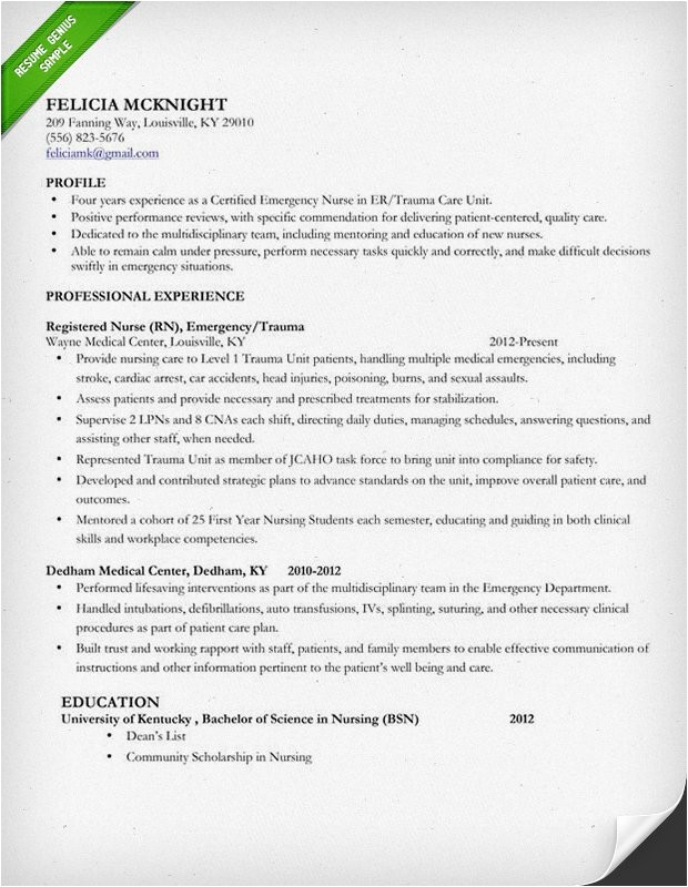 Nursing Resume Templates Nursing Resume Sample Writing Guide Resume Genius