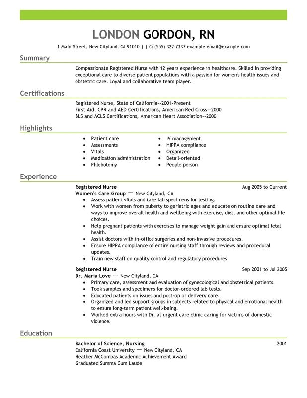 Nursing Resume Templates Unforgettable Registered Nurse Resume Examples to Stand