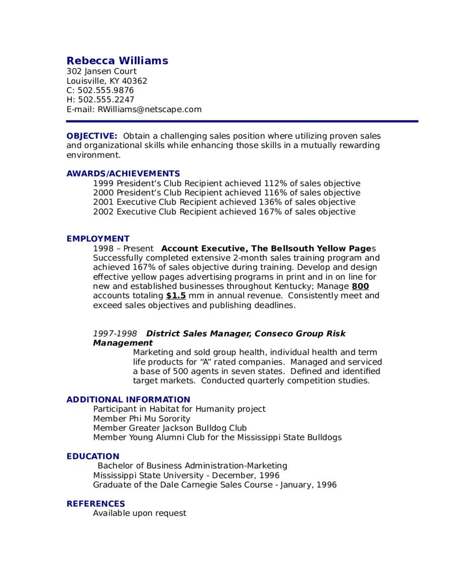 resume objective sample 01