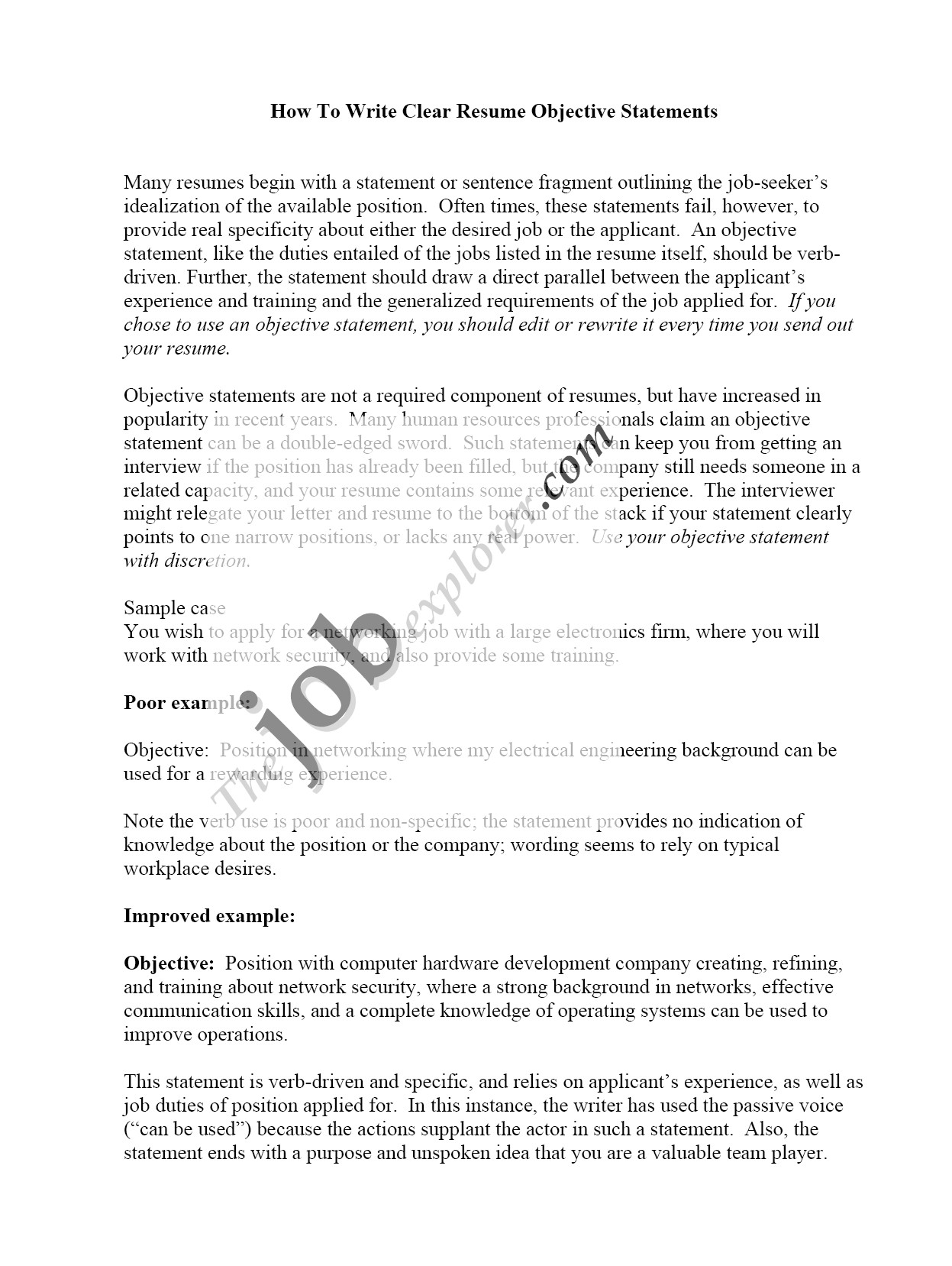 why resume objective is important