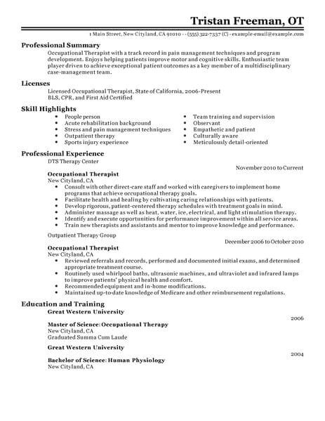Occupational therapy assistant Resume Template Best Occupational therapist Resume Example Livecareer
