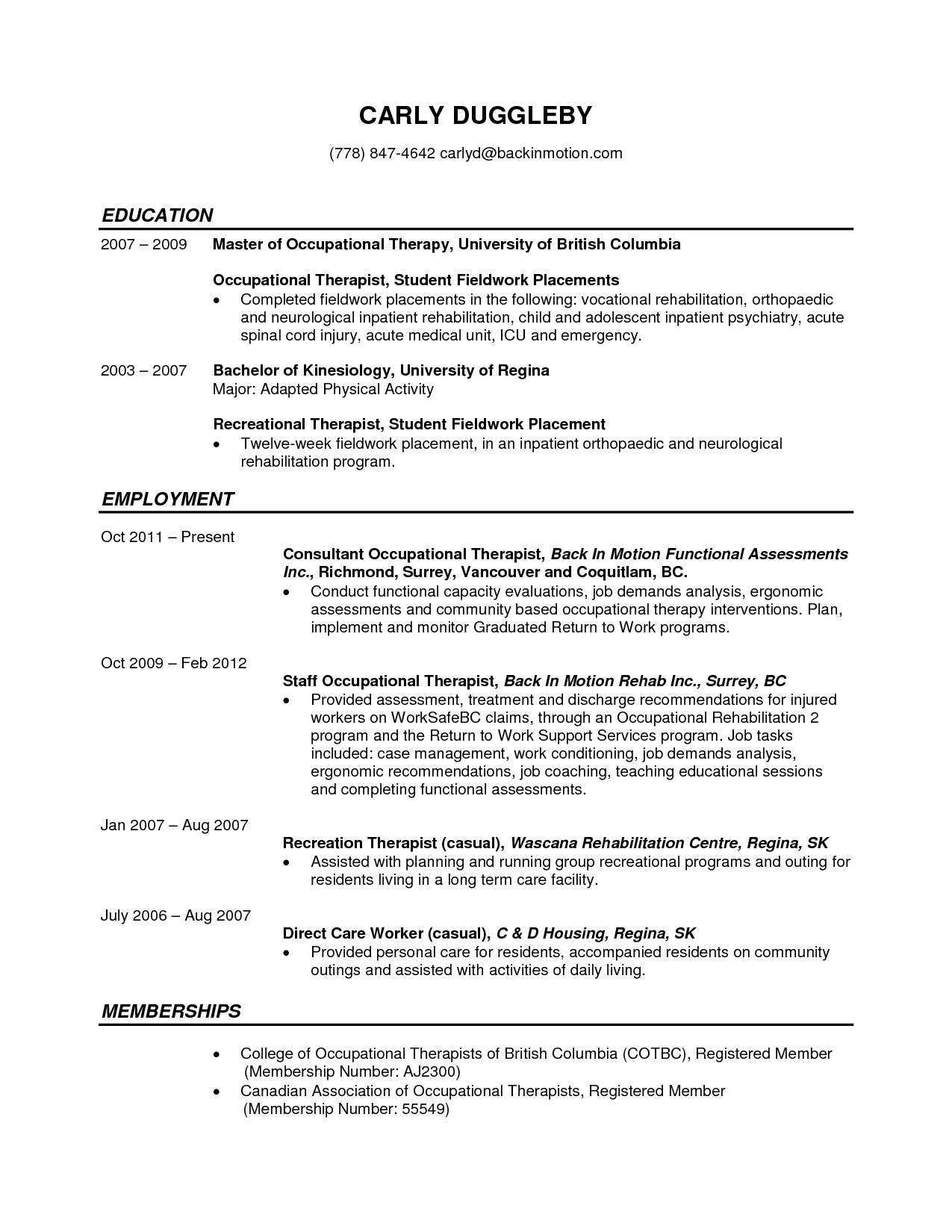 occupational therapist resume