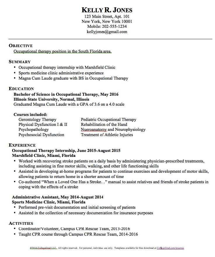 Occupational therapy assistant Resume Template Occupational therapy Resume Templates Http