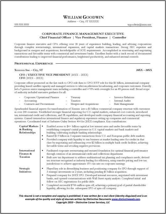 One Employer Resume Sample Resume Sample for A Cfo