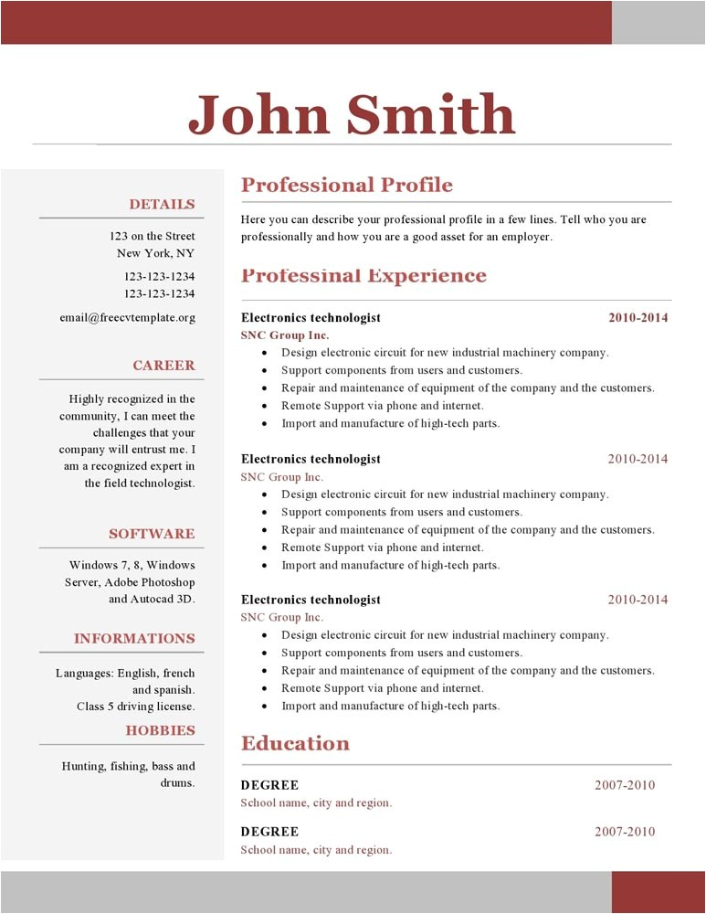 one page resume template