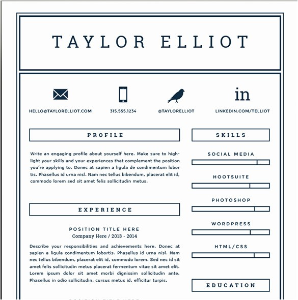 One Page Resume Template Free 41 One Page Resume Templates Free Samples Examples