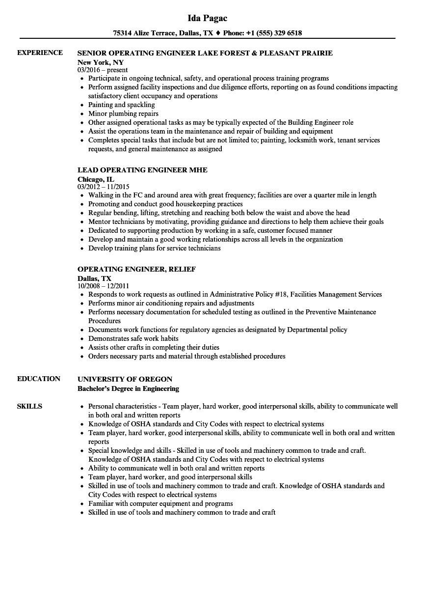 Operating Engineer Resume Sample Engineer Operating Resume Samples Velvet Jobs
