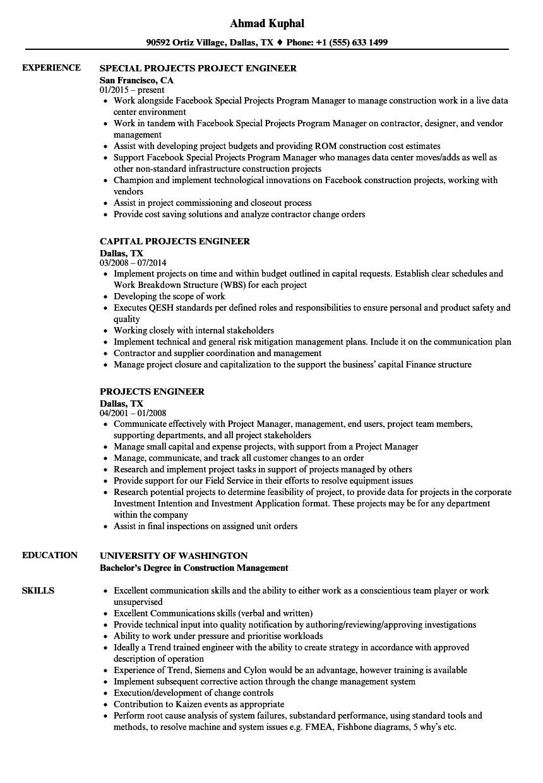 Operating Engineer Resume Sample Projects Engineer Resume Samples Velvet Jobs