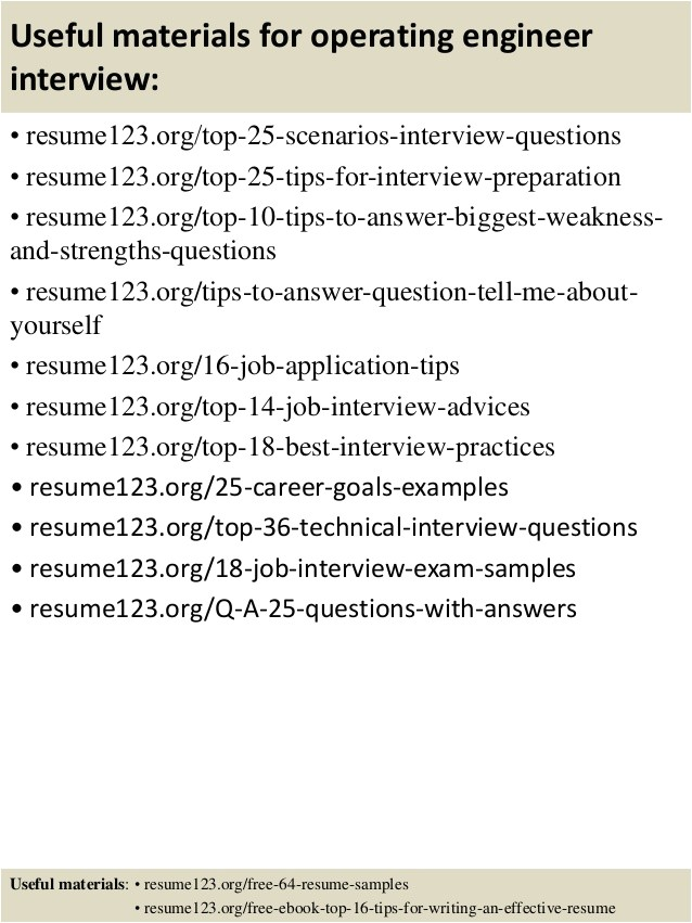 Operating Engineer Resume Sample top 8 Operating Engineer Resume Samples