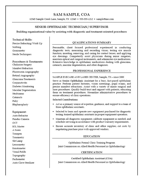 ophthalmic assistant resume