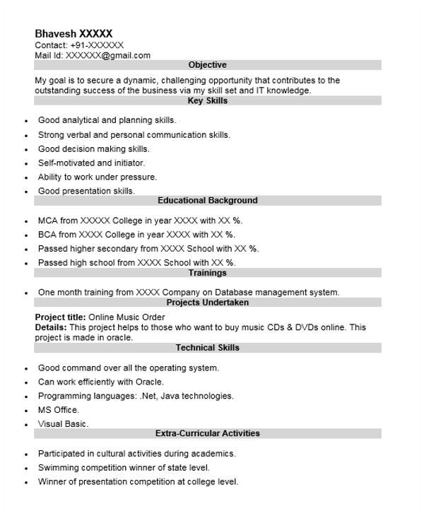 Oracle Fresher Resume Sample 40 Fresher Resume Examples