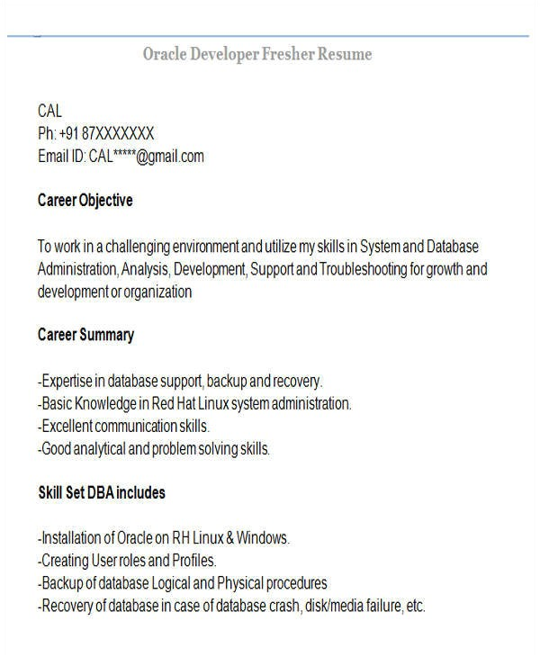 Oracle Fresher Resume Sample 42 Professional Fresher Resumes Sample Templates