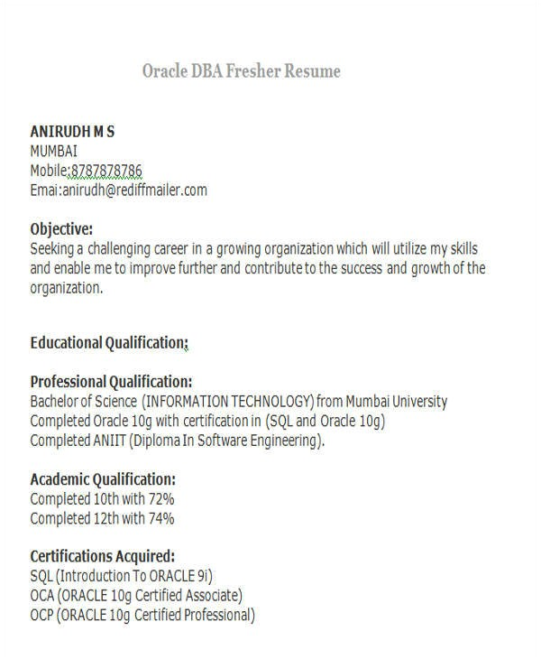 professional fresher resume