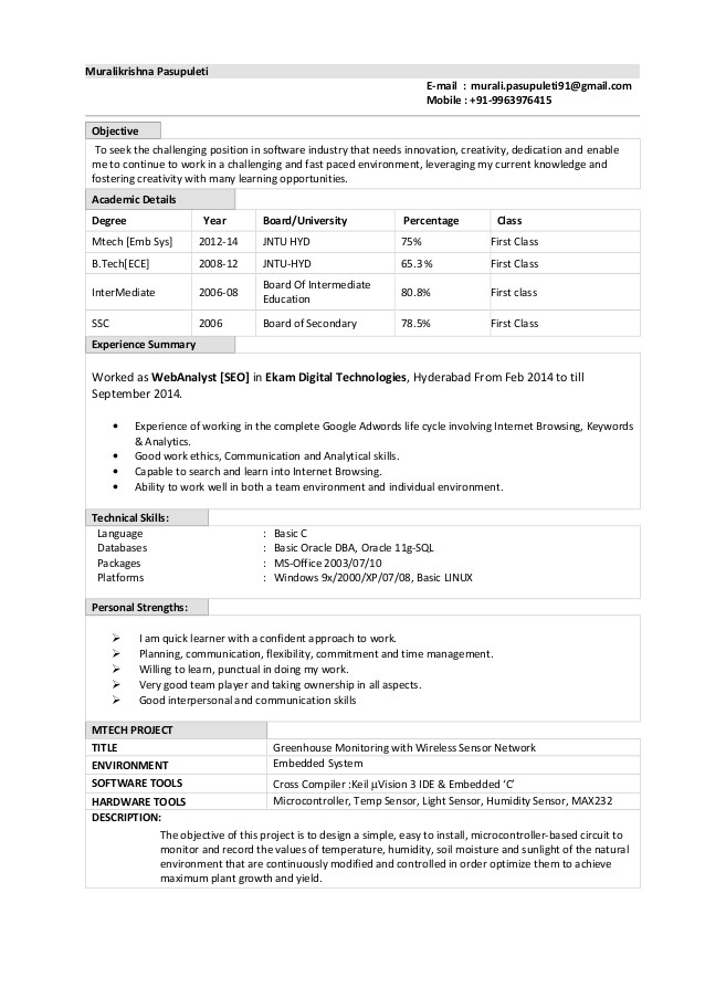 Oracle Fresher Resume Sample oracle Dba Fresher Resume