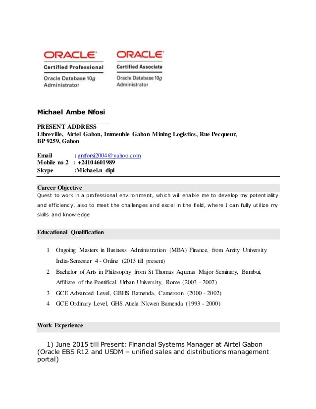 oracle dba fresher resume