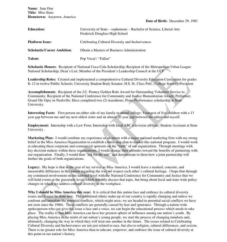 Pageant Resume Templates 12 Best Images Of Resume Worksheet Examples Accounting