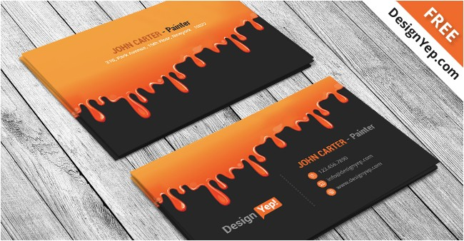 free painting business card psd template