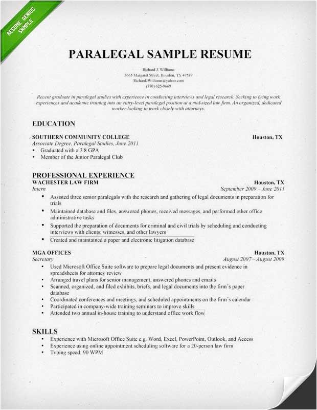 Paralegal Resume Templates Paralegal Resume Sample Writing Guide Resume Genius