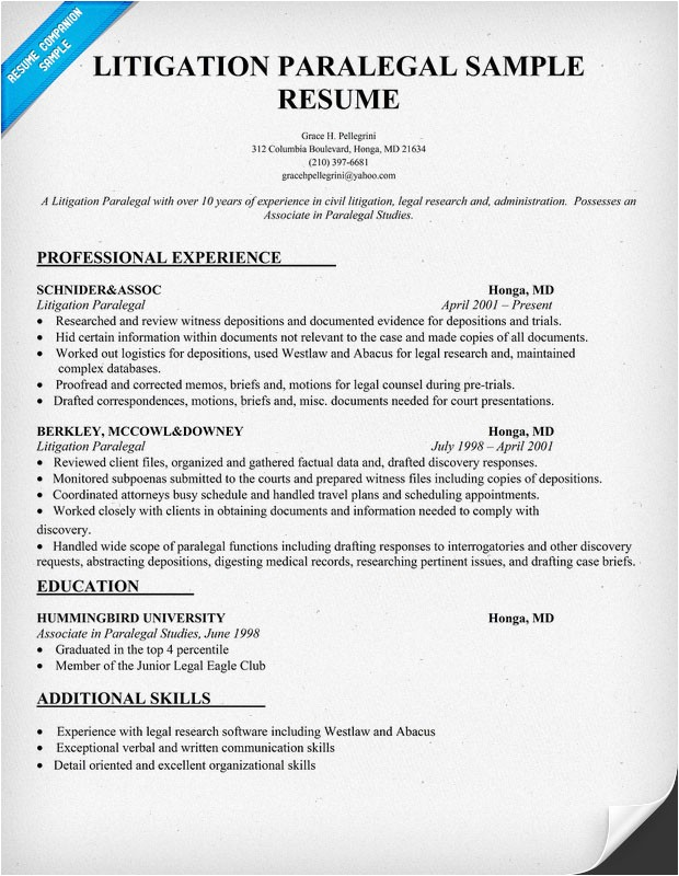 Paralegal Resume Templates Resume Templates Paralegal Sample Resume