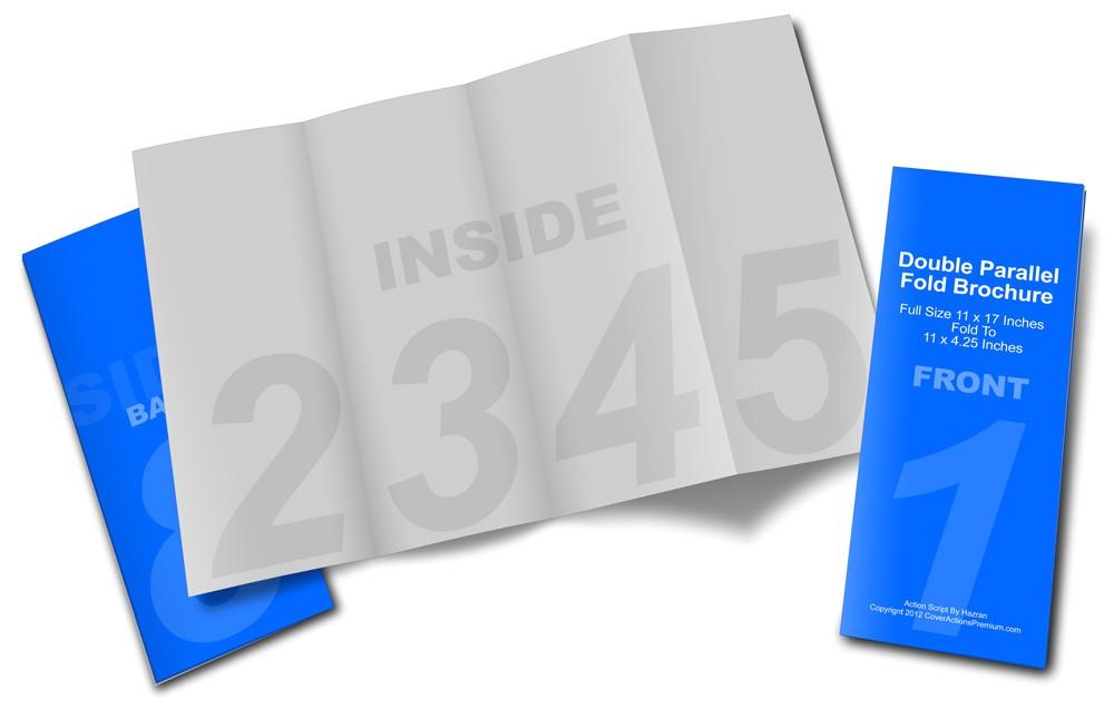 double parallel fold brochure action script tabloid